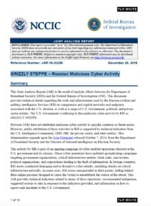 NCCIC report discussing Russian cyberattacks on critical infrastructure in the US and other countries