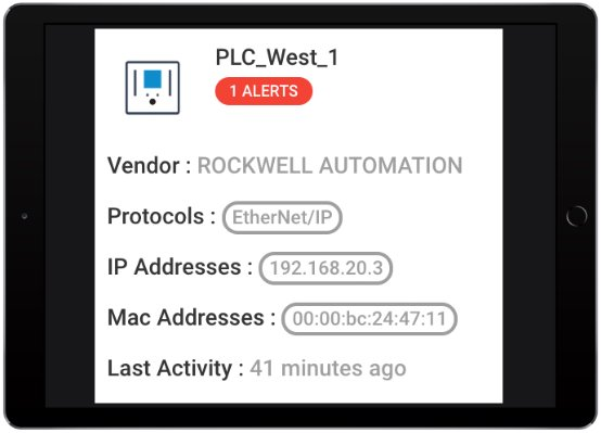 Right-click on any device to get a snapshot of its key properties.