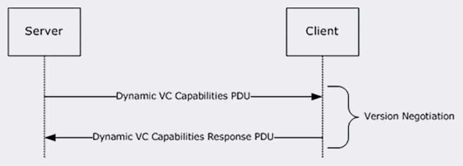 Handshake mechanism for exchanging information about supported versions during creation of Dynamic Virtual Channels (DVCs).